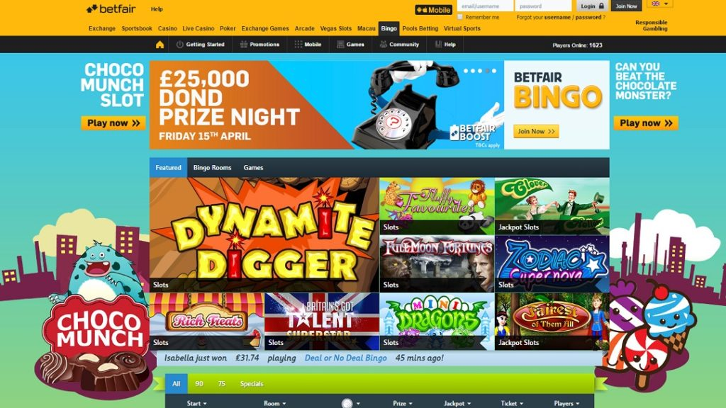 huge game selection at the bingo site of betfair
