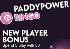 Sign-up bonus for new members at the bingo site of Paddy Power!