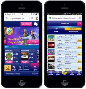 what is the mobile software of the gala bingo site
