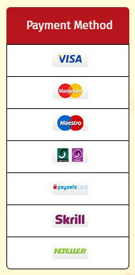 Available payment methods at Glossy Bingo