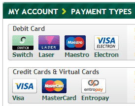 What payment options are available at the website of Paddy Power?