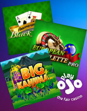 Game selection at PlayOjo Casino